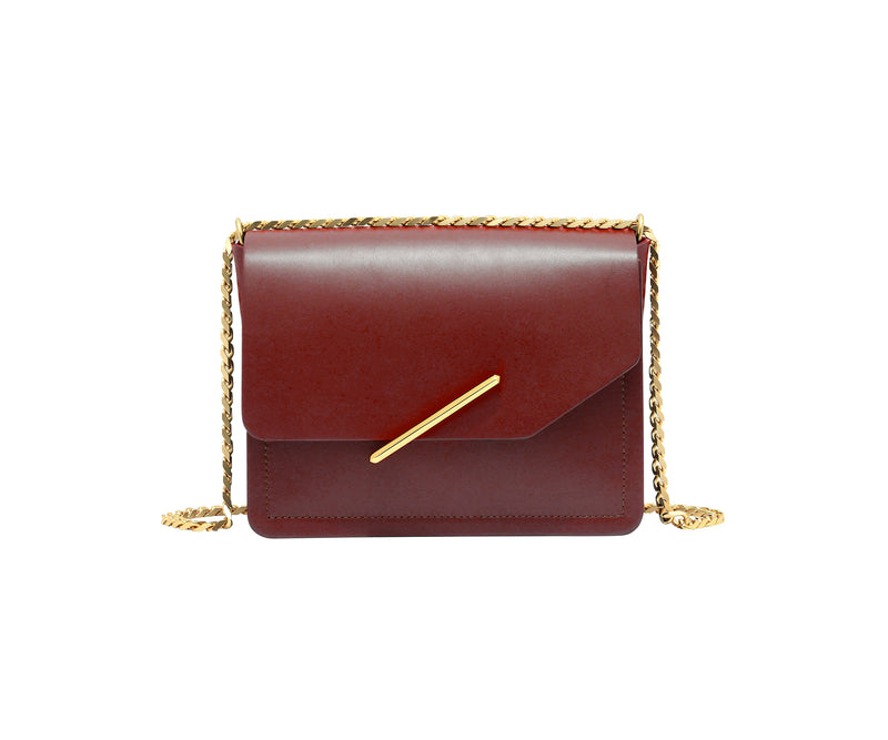 Novae Res Jemison Minor Leather Handbag made in Red Leather and Gold Hardware with Chain Strap Front View
