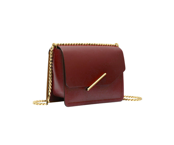Novae Res Jemison Minor Leather Handbag made in Red Leather and Gold Hardware with Chain Strap Profile View