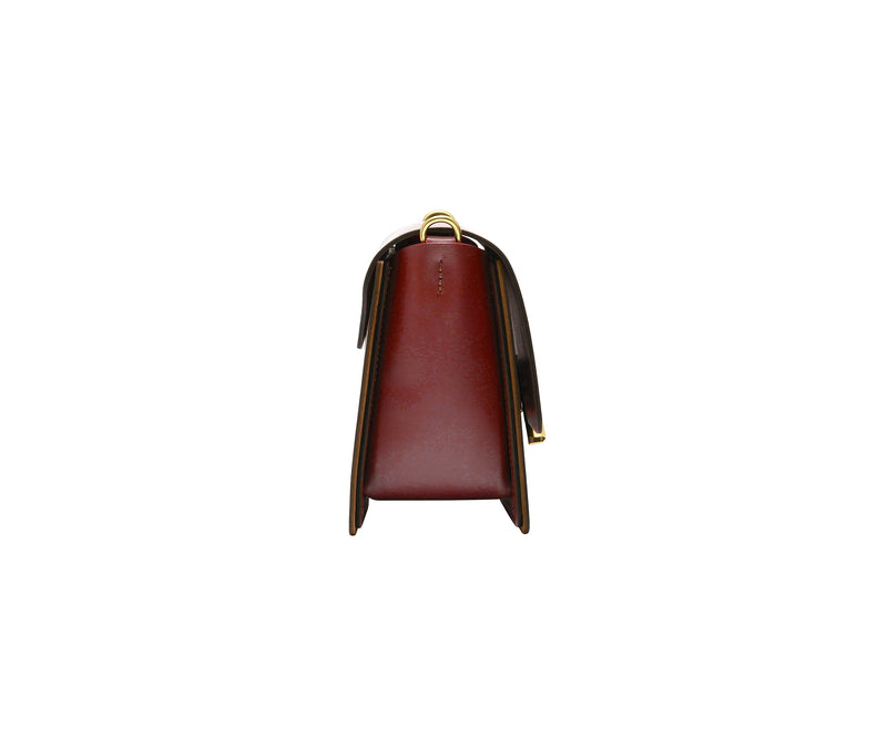 Novae Res Jemison Minor Leather Handbag made in Red Leather and Gold Hardware with Chain Strap Side View
