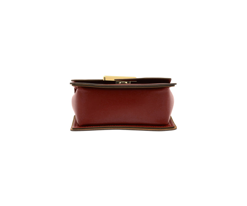 Novae Res Jemison Minor Leather Handbag made in Red Leather and Gold Hardware with Short Strap Bottom View