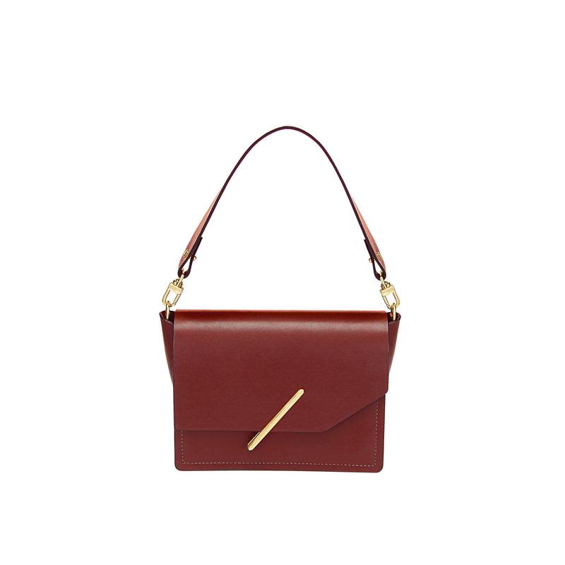 Novae Res Jemison Minor Leather Handbag made in Red Leather and Gold Hardware with Short Strap Front View