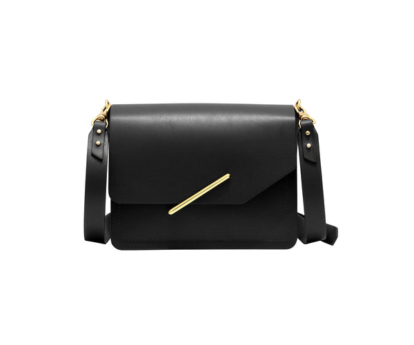 Novae Res Jemison Minor Leather Handbag made in Black Leather and Gold Hardware with Crossbody Strap Front View