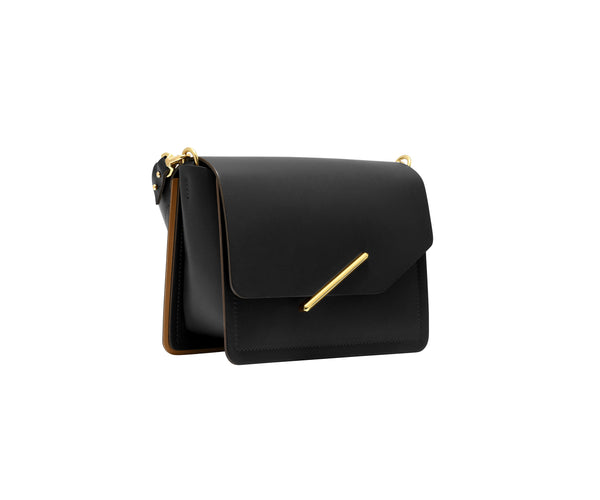 Novae Res Jemison Minor Leather Handbag made in Black Leather and Gold Hardware with Short Strap Profile View
