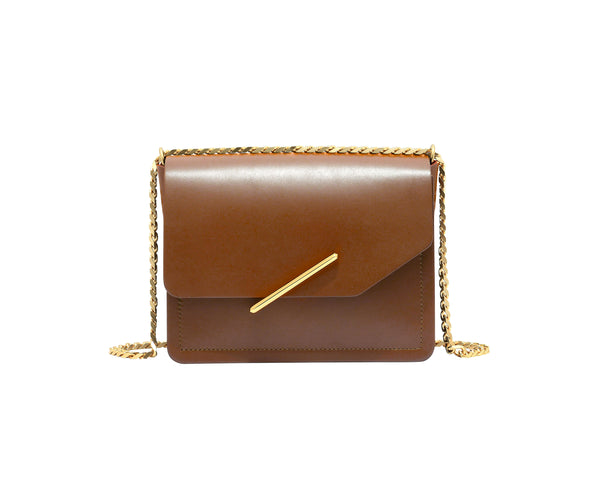 Novae Res Jemison Minor Leather Handbag made in Brown Leather and Gold Hardware with Chain Strap Front View