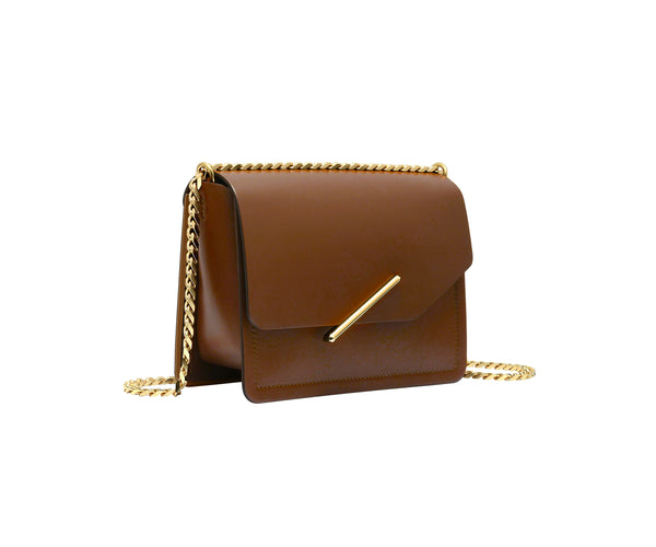 Novae Res Jemison Minor Leather Handbag made in Brown Leather and Gold Hardware with Chain Strap Profile View