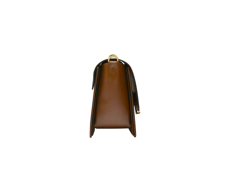 Novae Res Jemison Minor Leather Handbag made in Brown Leather and Gold Hardware with Chain Strap Side View