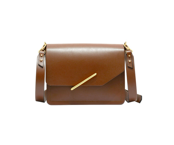 Novae Res Jemison Minor Leather Handbag made in Brown Leather and Gold Hardware with Crossbody Strap Front View