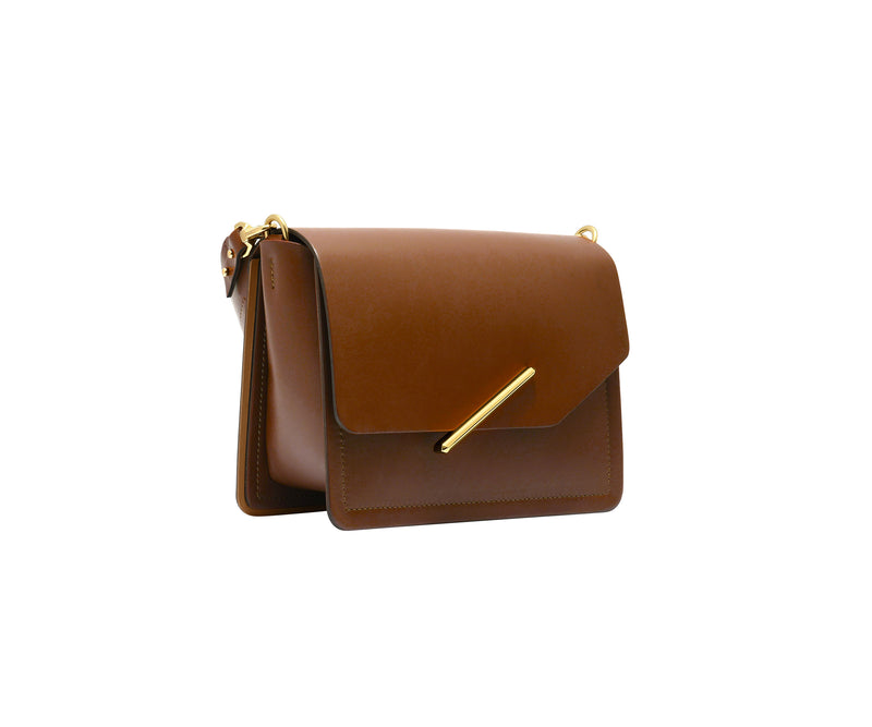 Novae Res Jemison Minor Leather Handbag made in Brown Leather and Gold Hardware with Short Strap Profile View