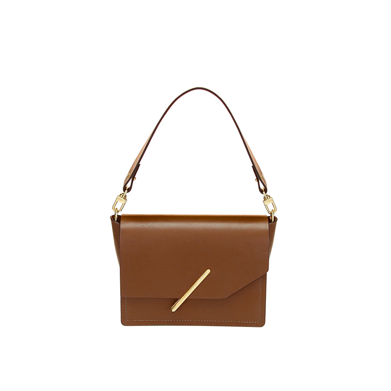 Novae Res Jemison Minor Leather Handbag made in Brown Leather and Gold Hardware with Short Strap Front View