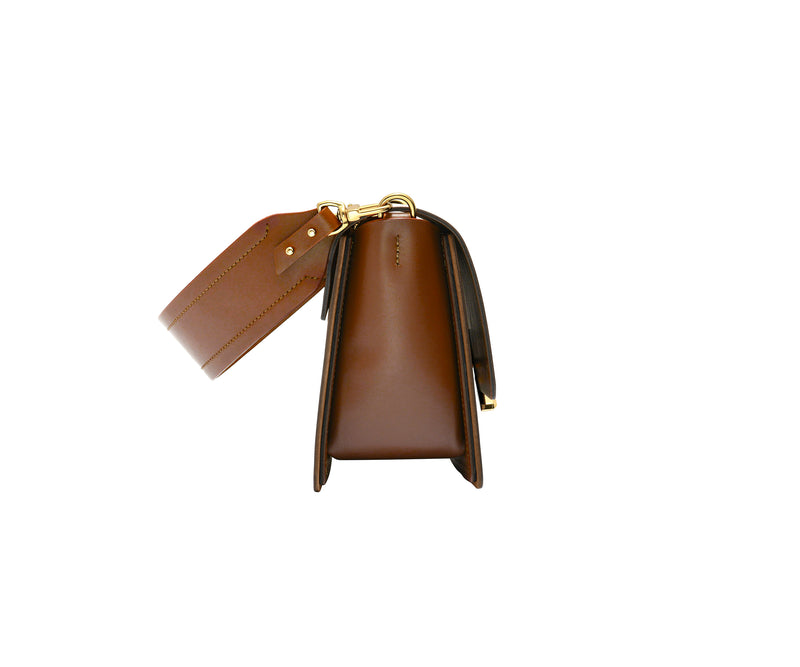 Novae Res Jemison Minor Leather Handbag made in Brown Leather and Gold Hardware with Short Strap Side View