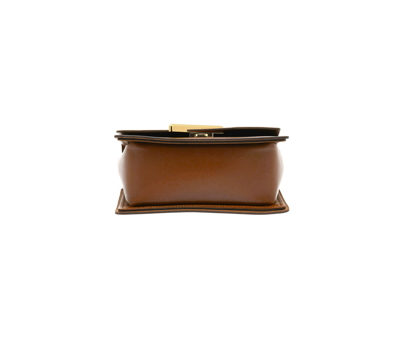 Novae Res Jemison Minor Leather Handbag made in Brown Leather and Gold Hardware with Wide Long Strap Bottom View