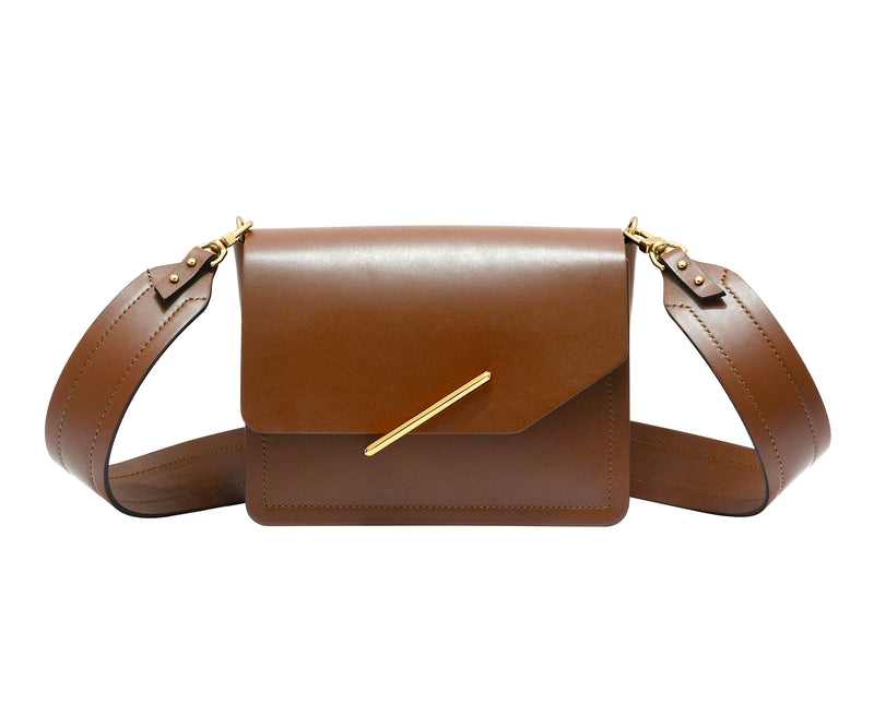 Novae Res Jemison Minor Leather Handbag made in Brown Leather and Gold Hardware with Wide Long Strap Front View