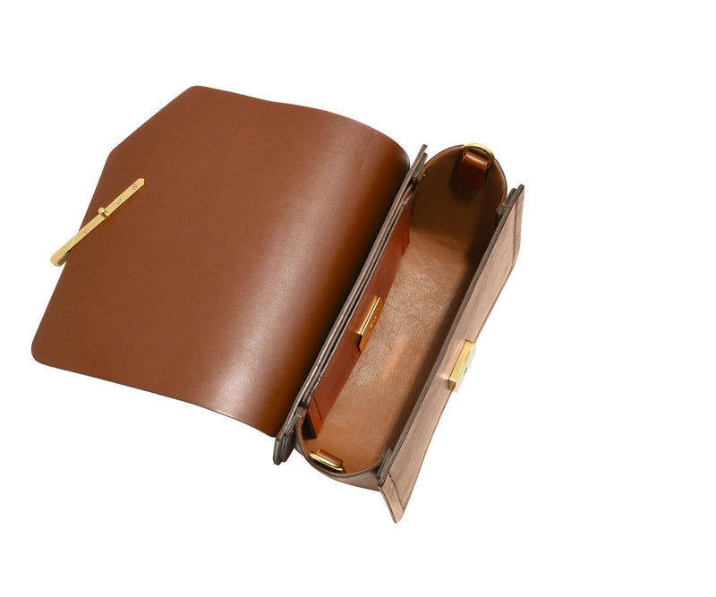 Novae Res Jemison Minor Leather Handbag made in Brown Leather and Gold Hardware with Wide Long Strap Inside View