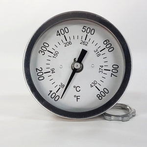 "PRO TEMP BBQ Thermometer Gauge 3"" Dial 4"" Stem F&C 100-800"