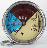 "Pro BBQ Thermometer Gauge 3"" Dial 2.5"" Stem for  your Grill"
