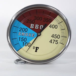 "Pro BBQ Thermometer Gauge 5.25"" Dial 3"" Stem for  your Smoker"