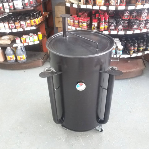 This is the KC Ugly Drum Smoker in Black (UDS)