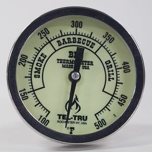 "This is a 5"" Tel Tru Glow in Dark  BBQ Grill or Smoker Thermometer 100 500"