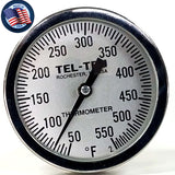 "This is a 3"" Tel Tru BBQ Grill or Smoker Thermometer 50-550"