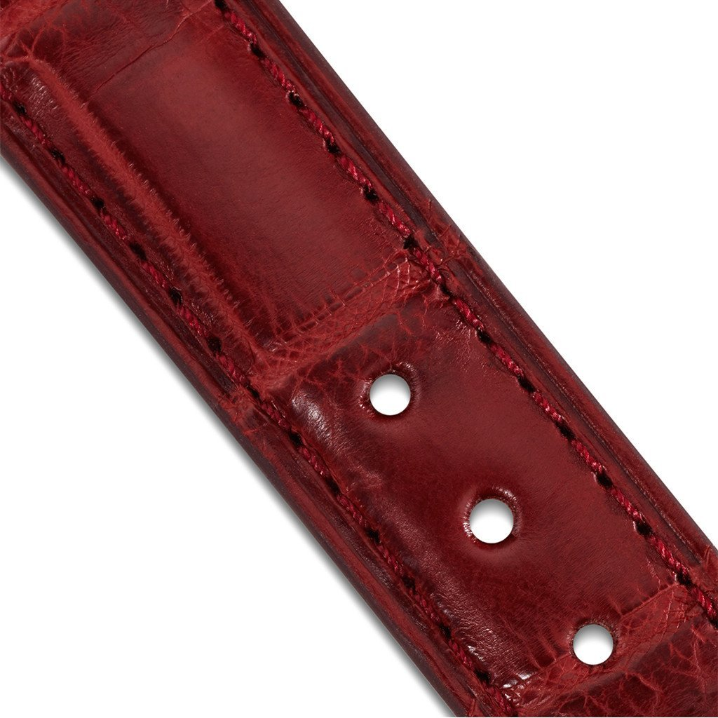 LR Red Alligator 16mm Strap Detail
