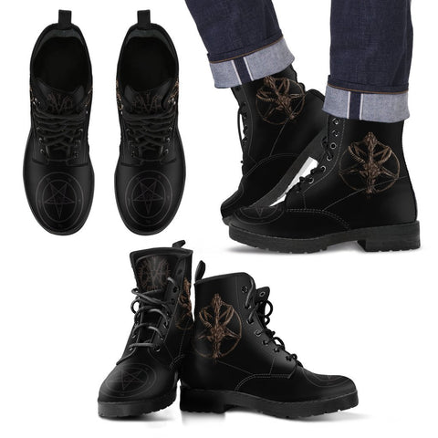 As Above so Below Black Leather Boot - Between Valhalla and Hel
