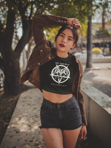 Hail Satan Meow  Women's Crop Tee (White/black) - Between Valhalla and Hel