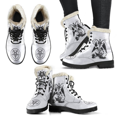 BaphoBoot White Faux Fur - Between Valhalla and Hel