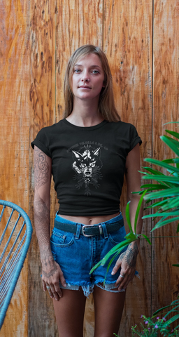 Wolf Helm Women's T-Shirt - Between Valhalla and Hel