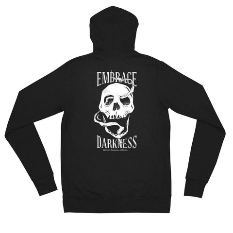 Embrace Darkness Unisex zip hoodie - Between Valhalla and Hel