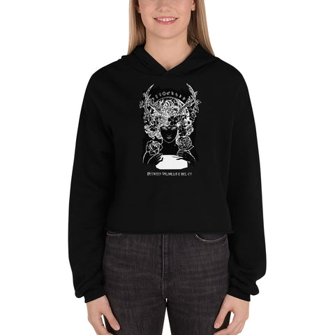 Pagan Goddess Crop Hoodie - Between Valhalla and Hel