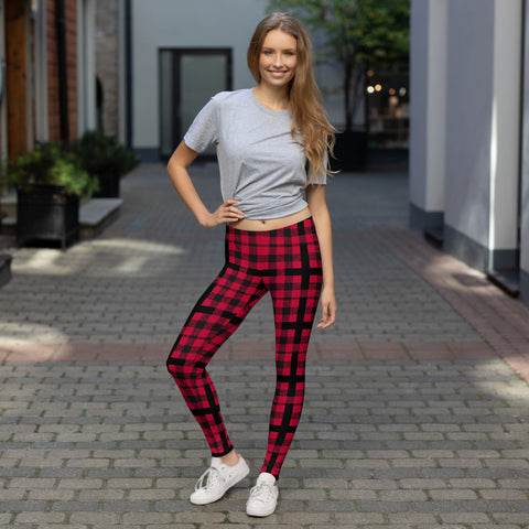 Plaid Cross Leggings - Between Valhalla and Hel