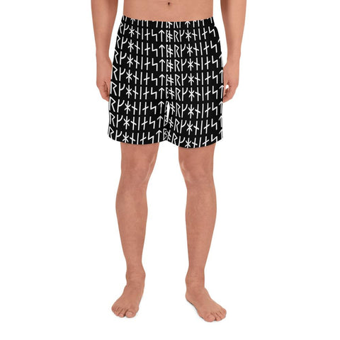 Rune Pattern Men's Athletic Long Shorts - Between Valhalla and Hel