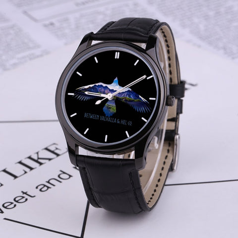 To Valhalla (Black) 30 Meters Waterproof Quartz Fashion Watch With Black Genuine Leather Band - Between Valhalla and Hel