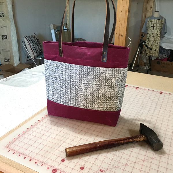 Berry Waxed Canvas Tote Bag - TLC Patterns