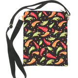 (Wholesale) Chili Pepper Black Crossbody Purse
