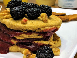Vegan Whole Wheat Pancakes with Blackberry Jam