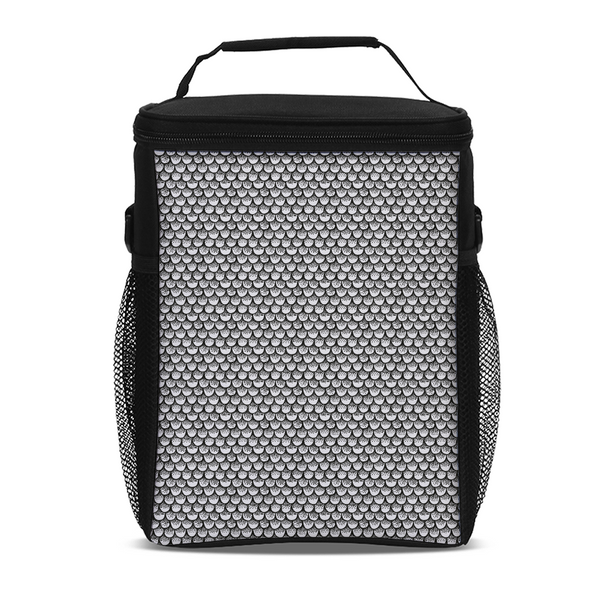 Stippled Scales in Monochrome Tall Insulated Lunch Bag | shopcontrabrands.com