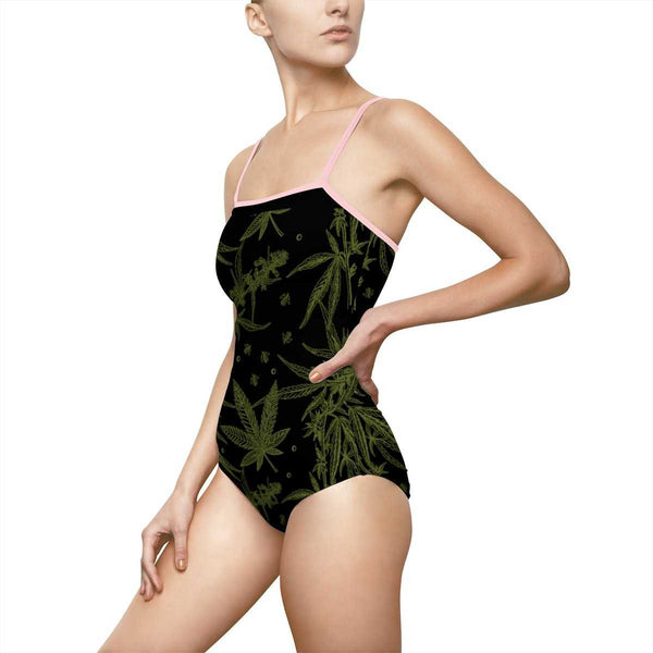 CANNABIS Print One-piece Swimsuit - Black - shopcontrabrands.com