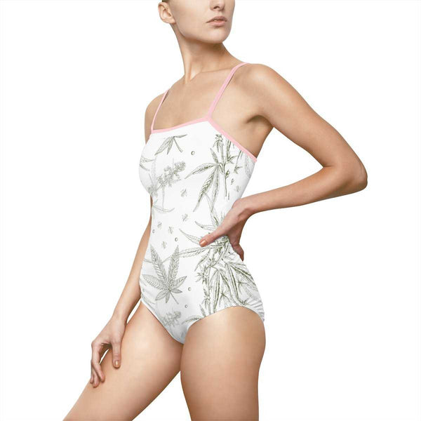CANNABIS Print One-piece Swimsuit - White - shopcontrabrands.com