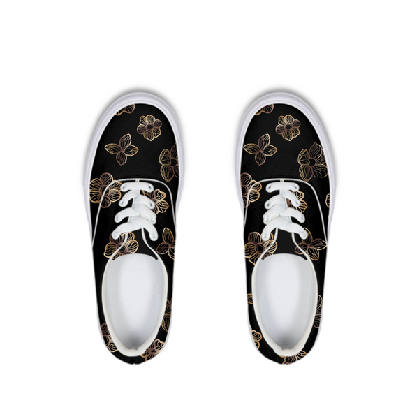 Black & Gold Floral I Lace Up Canvas Shoe - shopcontrabrands.com