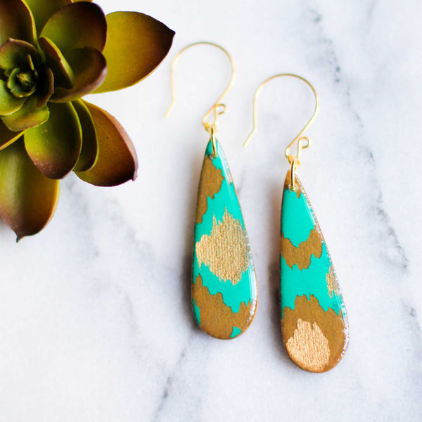 Teardrop Teal & Gold Earrings | shopcontrabrands.com