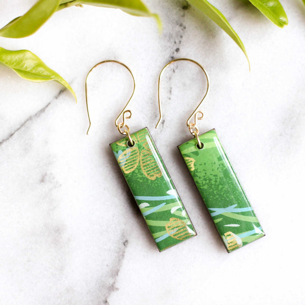 Bright Green & Gold Earrings - shopcontrabrands.com