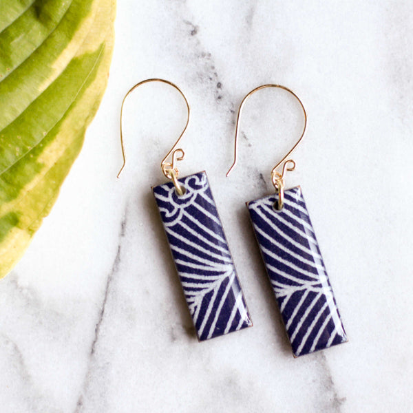 Navy Wave Earrings - shopcontrabrands.com