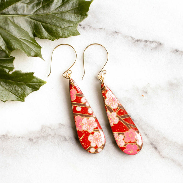 Teardrop Red Cherry Blossom Earrings | shopcontrabrands.com