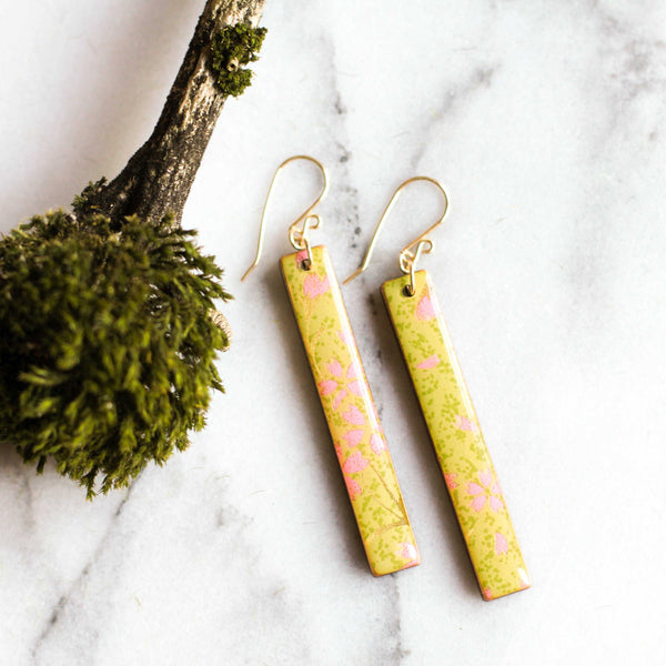 Chartreuse & Pink Bar Earrings - shopcontrabrands.com