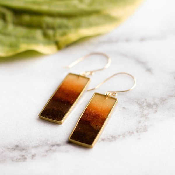 Autumn Honey Rectangle Earrings - shopcontrabrands.com