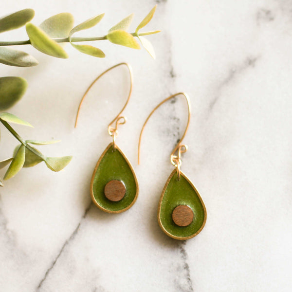 Fresh Avocado Brass Earrings - shopcontrabrands.com