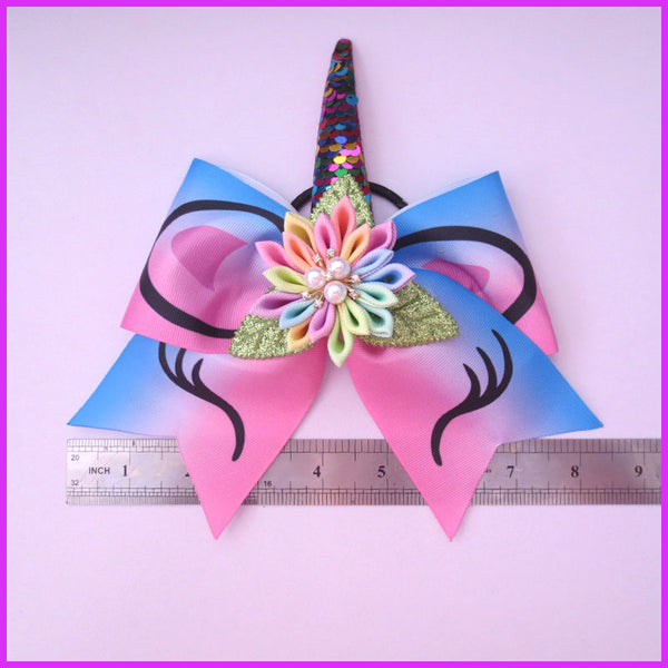 Little Ladies Unicorn Hair Bow w/ Elastic Band