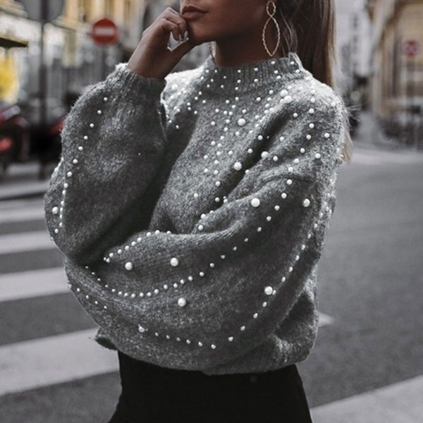 Pearl Studded  Crop Sweater