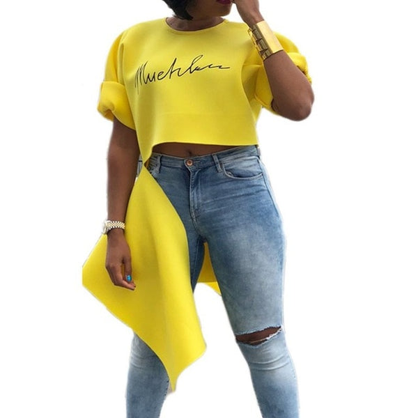 Sexy Yellow Asymmetrical Crop Top